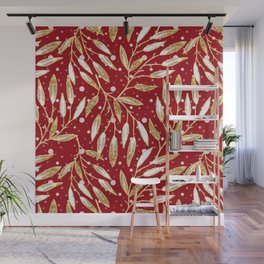 Christmas colorful pattern. Gold sprigs on a red background. Wall Mural