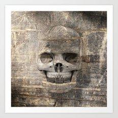 Wood Skull 02 Art Print
