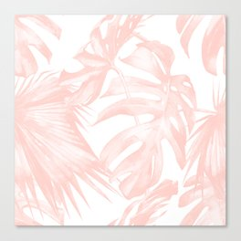 Tropical Leaves Pink and White Canvas Print