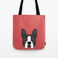 boston terrier Tote Bags featuring Boston Terrier  by lllg