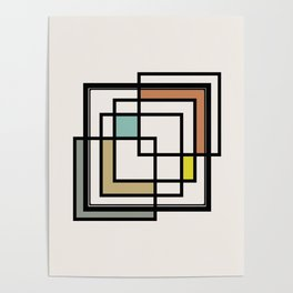 Mid Century Modern Squares Poster