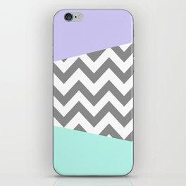 gray, mint, and purple chevron iPhone Skin