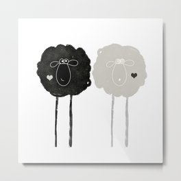Ying Yang Sheep Metal Print