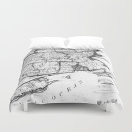 Vintage Map of New England States (1843) BW Duvet Cover