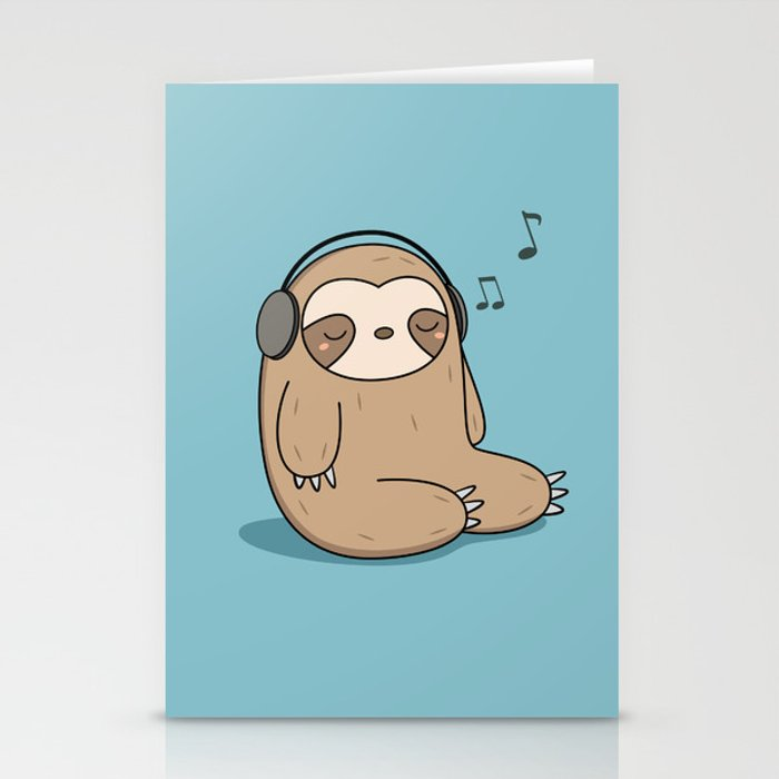 Kawaii Cute Sloth Listening To Music Stationery Cards By Wordsberry
