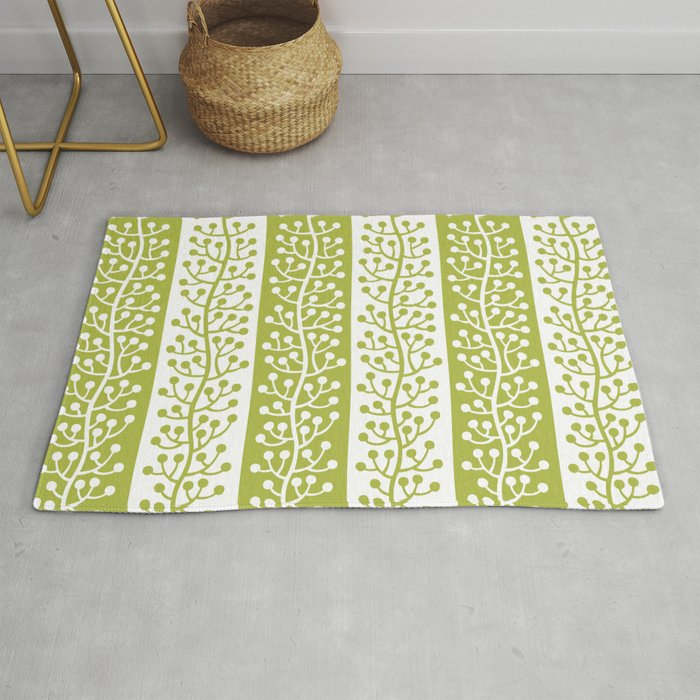 Mid Century Modern Berry Vine Stripes Chartreuse Rug