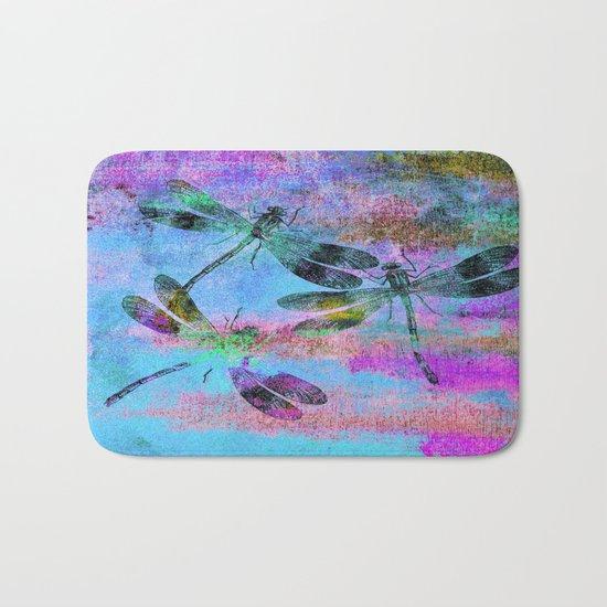 Mauritius Vintage Dragonflies Colours B Bath Mat