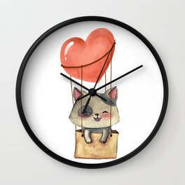 funny cute sweet kitten cat lovers hot air balloon of love present gift idea Wall Clock