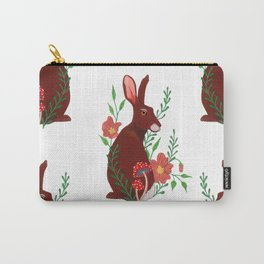 Floral Rabbit Pattern Carry-All Pouch