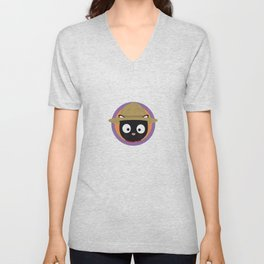 Park ranger cat in purple circle Unisex V-Neck