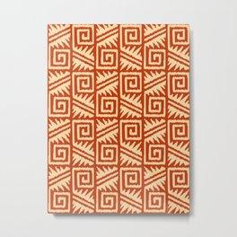 Ikat Aztec Tribal - Mandarin and Light Orange Metal Print
