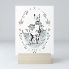 Christmas Alpaca / Winter Alpaca / Winter Animal / Alpaca with Scarf / Christmas Animal Mini Art Print