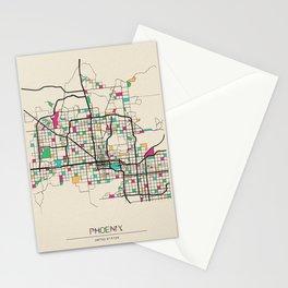 Colorful City Maps: Phoenix, Arizona Stationery Cards