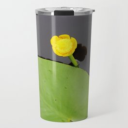 Yellow waterlily with lily pad Travel Mug