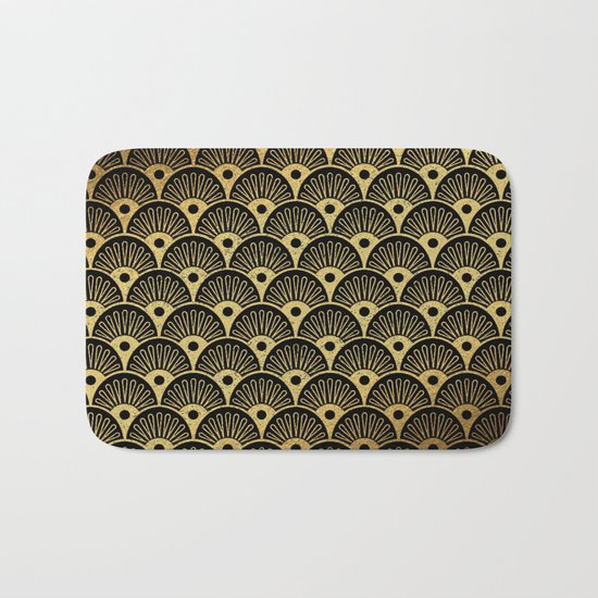 Wonderful gold glitter art deco pattern on black backround - Luxury design for your home Bath Mat