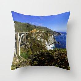 Bixby creek bridge, Big Sur, CA. Throw Pillow