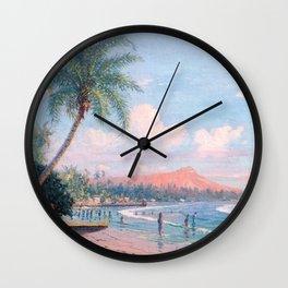 Waikiki Beach, Diamond Head, Oahu landscape painting by D. Howard Hitchcock Wall Clock