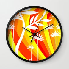 Orange and White Plant Wall Clock