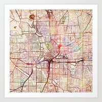 atlanta Art Prints featuring Atlanta by MapMapMaps.Watercolors