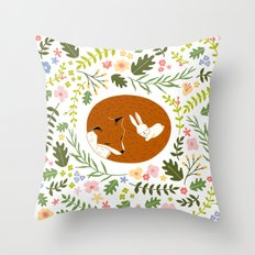 Friendship in Wildlife_Fox and Bunny_Bg White Throw Pillow