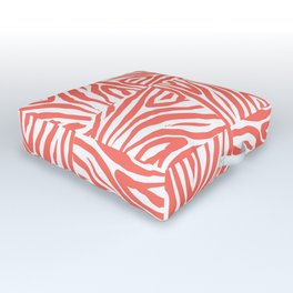 Coral Zebra Print Squares Outdoor Floor Cushion