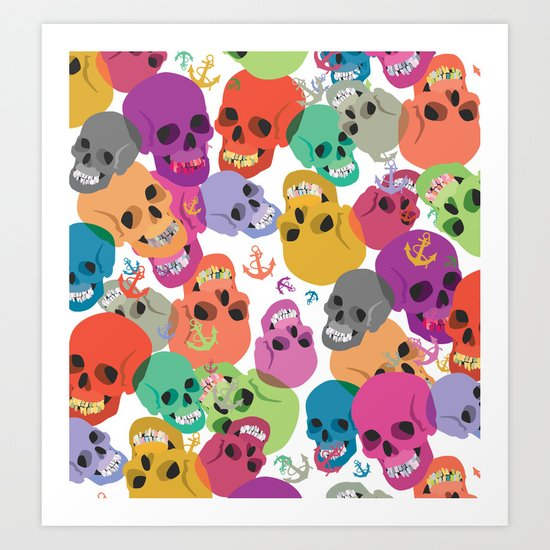 Skulls And Anchors Art Print