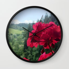 Geranium outside the window photography Wall Clock