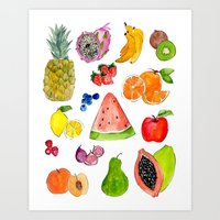 fruits Art Prints featuring FRUITS by Shannon Kirsten