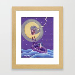 Penguin's Ladder Connects Boat to the Moon and the Singing Penguin Framed Art Print