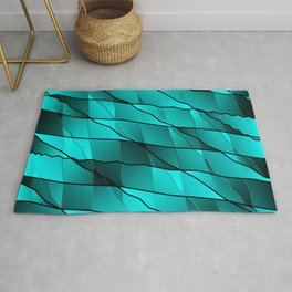 Mirrored gradient shards of curved light blue intersecting ribbons and horizontal lines. Rug