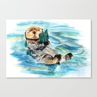 otter Canvas Prints featuring Otter by Anna Shell