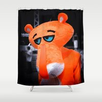 panther Shower Curtains featuring Sad panther by DistinctyDesign