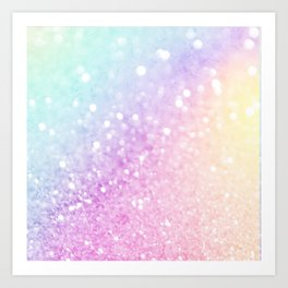 Pretty Pastel Colorful Glitter Bokeh Gradient Art Print