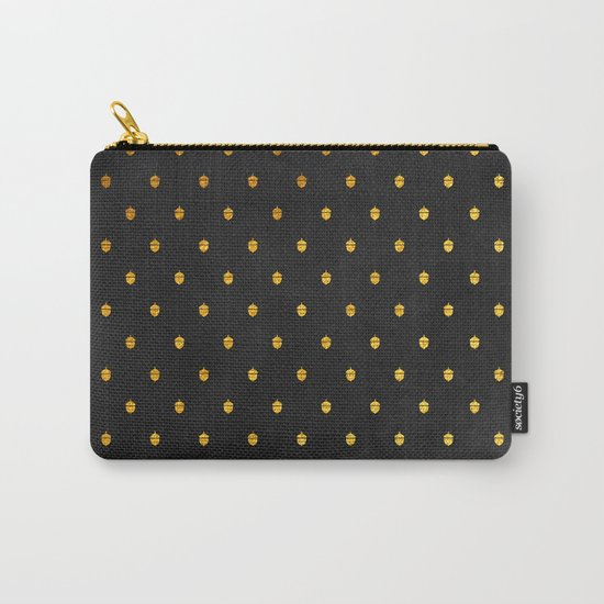 AUTUMN - gold acorns on chalkboard background Carry-All Pouch