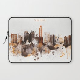 Brown San Paulo skyline design Laptop Sleeve