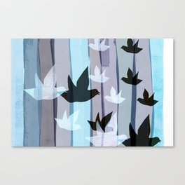 Flying birds in the wood Canvas Print