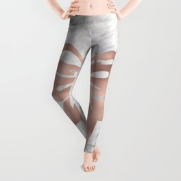 Rose gold marble bow Leggings
