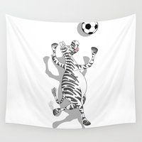 football Wall Tapestries featuring Zebra Football by mailboxdisco