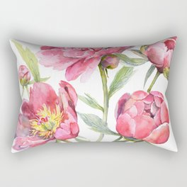 Peonies Watercolor Florals Botanical Design Rectangular Pillow