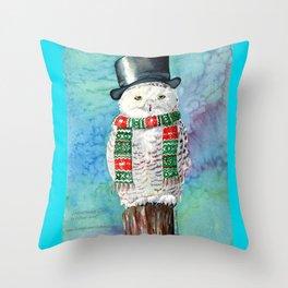 Snowman Owl Throw Pillow