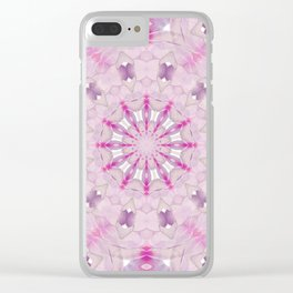 Delicate Lilac and Ultra Violet Floral Fantasy Mandala Clear iPhone Case