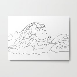 Minimal Line Art Ocean Waves Metal Print
