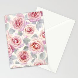 Mauve and Cream Painted Roses Stationery Cards