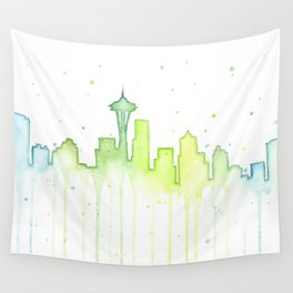 Seattle Skyline Watercolor Space Needle Painting Wall Tapestry