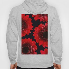 Red Flowers On A Black Background #decor #buyart #society6 Hoody