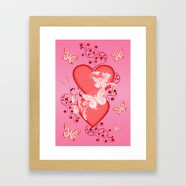 Butterflies and Hearts Framed Art Print