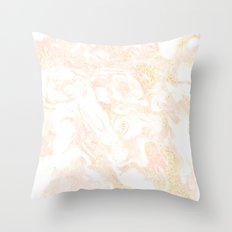 White Marble Pastel Pink and Gold by Nature Magick Throw Pillow