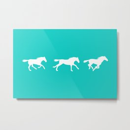 Horse in Motion (white on mint) Metal Print