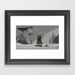 The lighthouse & the whaler 01 Framed Art Print