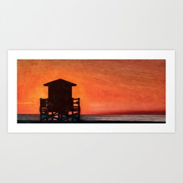 Lifeguard Sunset Art Print